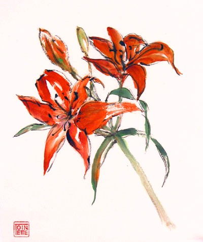 Toinette Lippe painting - Tiger Lilies