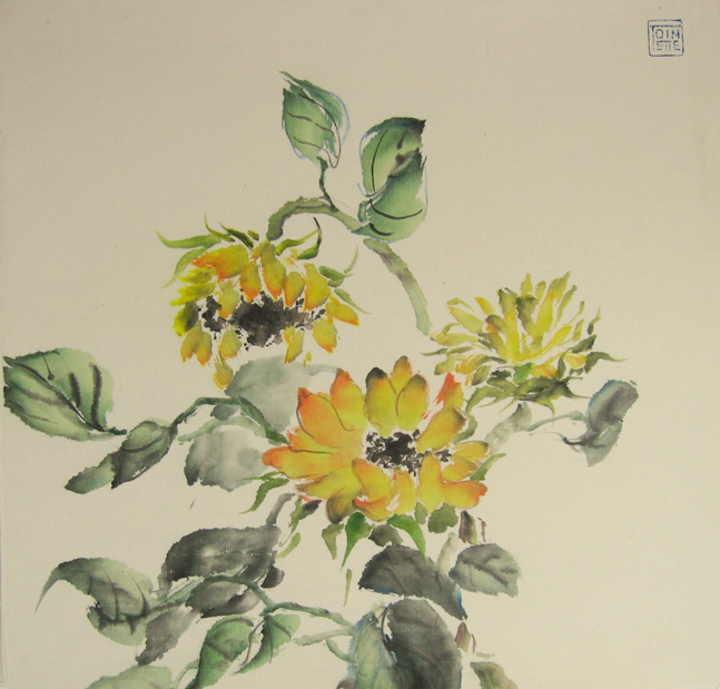 Toinette Lippe painting - Sunflowers 4