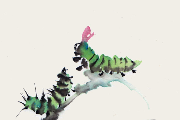 Toinette Lippe painting - Green Caterpillars