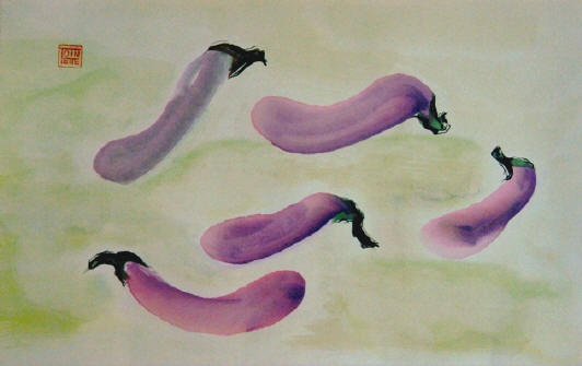 Toinette Lippe painting - Eggplant Dancing