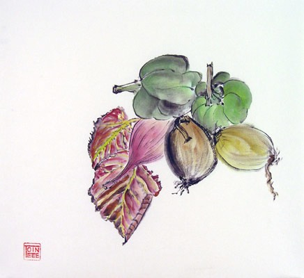 Toinette Lippe painting - Leaves, Peppers, and Onions 1