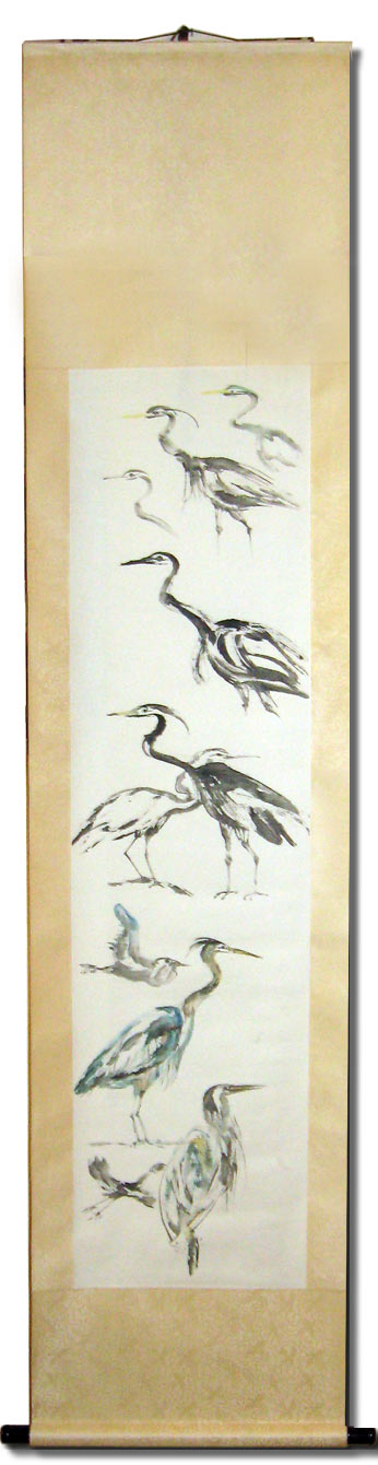 Toinette Lippe painting - Heron Sketches Scroll