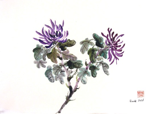 Toinette Lippe painting - Purple Chrysanthemums