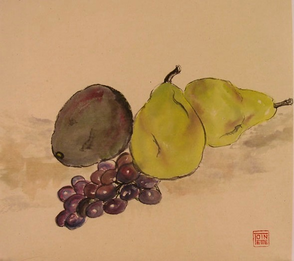 Toinette Lippe painting - Pears, Avocado, and Grapes