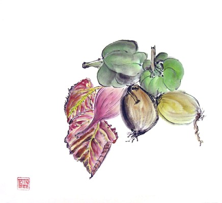 Toinette Lippe painting - Leaves, Peppers, and Onions