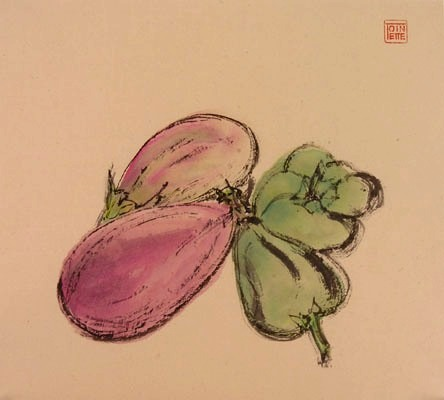 Toinette Lippe painting - Eggplant and Green Peppers