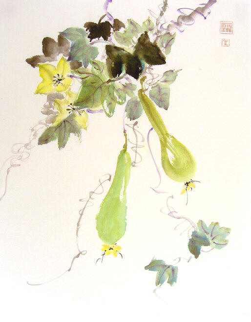 Toinette Lippe painting - Green Gourds