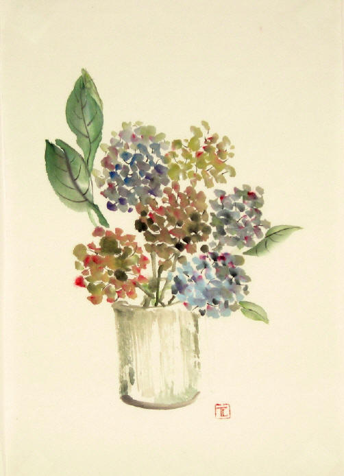 Toinette Lippe painting -  Winter Hydrangeas