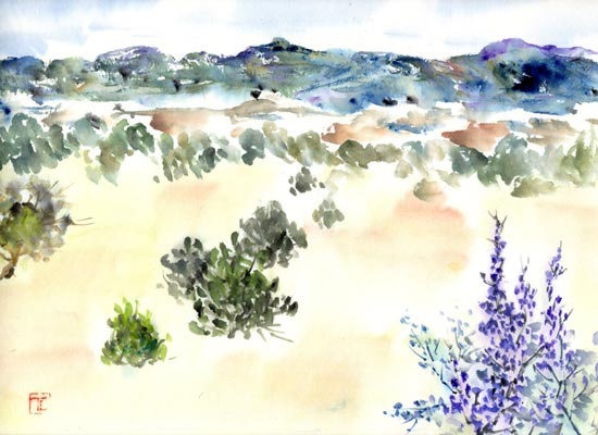 Toinette Lippe painting - The View from El Carrizito, NM