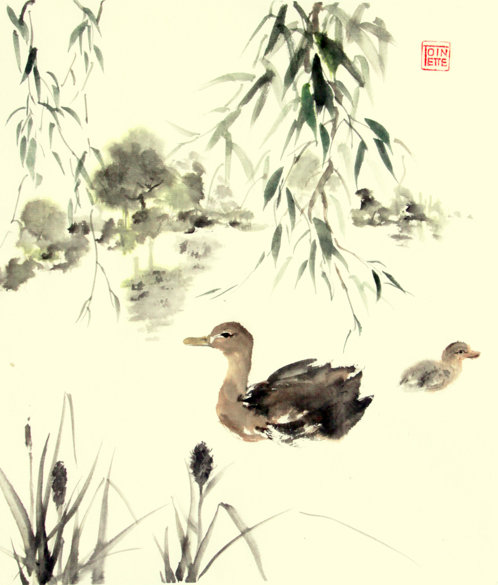 Toinette Lippe painting - Ducks under the Willows